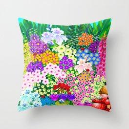 Flower Garden and Bugs Throw Pillow
