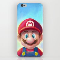 mario kart iPhone & iPod Skins featuring Mario Portrait by Laurence Andrew Page Illustrator