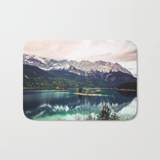 Green Blue Lake and Mountains - Eibsee, Germany Bath Mat