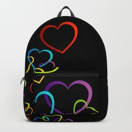 colorful valentine hearts art Backpack