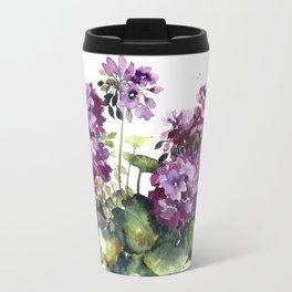 Purple violet pelargonium geranium flowers watercolor Travel Mug