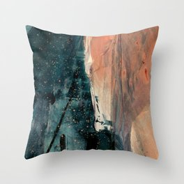 Same Stars [2] - an abstract mixed media piece in blues, pinks, and black Throw Pillow