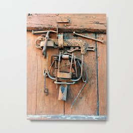 Old Wooden Door With Working Tools Sculpture Metal Print