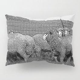 Black & White Sheep in a feild Pencil Drawing Photo Pillow Sham