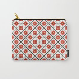Retro Oriental Tiles Pattern - Red Carry-All Pouch
