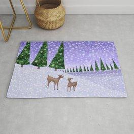 deer in the winter woods Rug