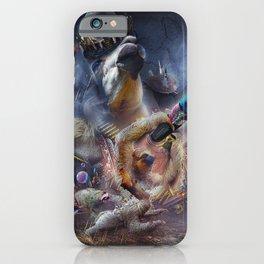 Laser Sloth Fighting Evil Llama King iPhone Case