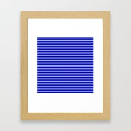 Royal Blue and White Horizontal Stripes Framed Art Print