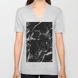 black white marble Unisex V-Neck