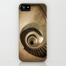 Spiral staircase in brown tones iPhone Case
