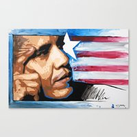 obama Canvas Prints featuring Obama by CjosephART
