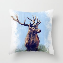 Red Deer - Painting Throw Pillow