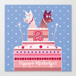 Birthday cake scotties Canvas Print