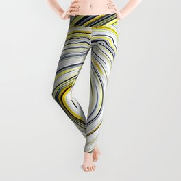Yellow And Black Funky Swirl Leggings