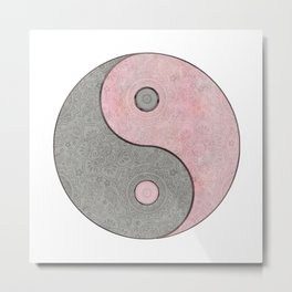 Yin Yang Esoteric Symbol Pastel Pink And Grey Metal Print