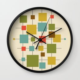 Mid-Century Modern Geometric Abstract Squares - Multi-colour Wall Clock