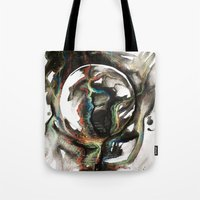 erotic Tote Bags featuring Erotic Electronic Moon   by Pérola M. Bonfanti