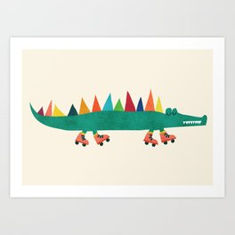 Crocodile on Roller Skates Art Print