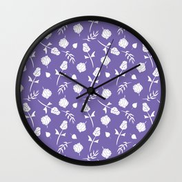 Bright Purple and White Floral Pattern Wall Clock