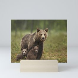 Mama bear with adorable cubs Mini Art Print