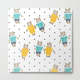 Cute bears in dotted background Metal Print
