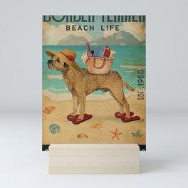 Beach Life Sandy Toes Border Terrier dog Mini Art Print