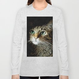 Tabby Cat With Green Eyes Isolated On Black Long Sleeve T-shirt