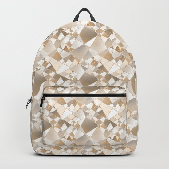 Brown, beige abstract polygonal pattern. Backpack