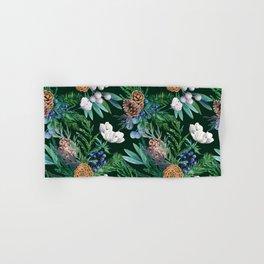 Dark green winter bouquet Hand & Bath Towel
