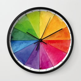 Watercolor color wheel Wall Clock