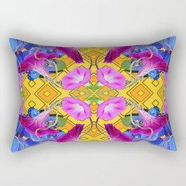 Blue  Patterns Morning Glories & Gold Rectangular Pillow