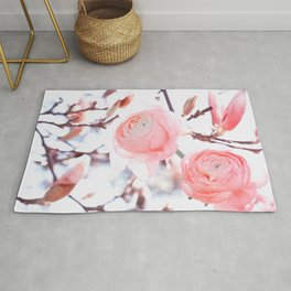noble floral pattern of magnolia and ranunculus flowers Rug