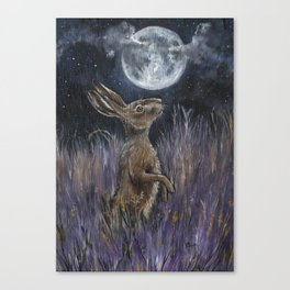 Supermoon Hare Canvas Print