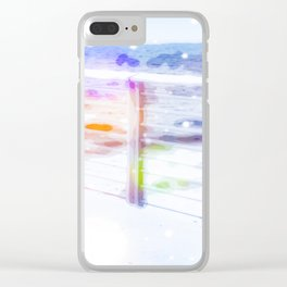 standing alone at the beach with summer bokeh light Clear iPhone Case