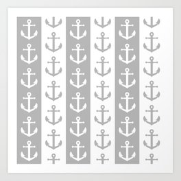 Nautical Sailor Stripes with Anchor Pattern Gray 241 Art Print