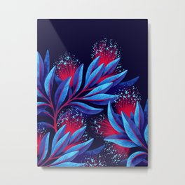 Pohutukawa - Red / Blue Metal Print