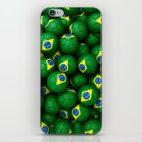 brazil iPhone & iPod Skins featuring BRAZIL FOOTBALLS by AMULET