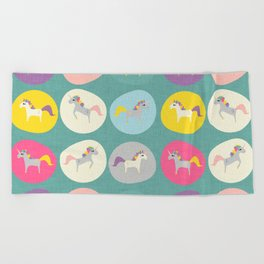 Cute Unicorn polka dots teal pastel colors and linen texture #homedecor #apparel #stationary #kids Beach Towel