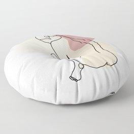 Line Art Nude Woman I Floor Pillow