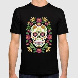 Mexican Folk Sugar Skull and Roses T-shirt