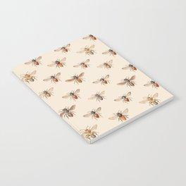 Vintage Bee Illustration Pattern Notebook