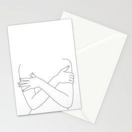 Crossed arms black and white illustration - Charli Stationery Cards