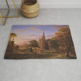 The Return Home medieval forest cathedral landscape painting by Thomas Cole Rug