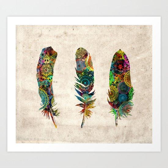 mandala vintage feathers Art Print