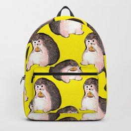 Hedgehog eating pizza Backpack