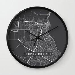 Corpus Christi Map, USA - Gray Wall Clock