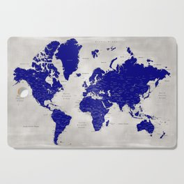 """Navy blue and grey detailed world map, """"Delaney"""" Cutting Board"""