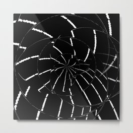 Abstract Spider Web, Black and White Lines, Spiral, Mandala, Broken Glass Metal Print