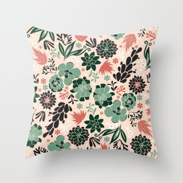 Succulent flowerbed Throw Pillow