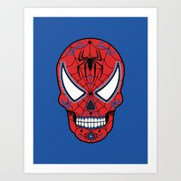 superheros Art Prints featuring Spidey Sugar Skull by Clark Street Press
